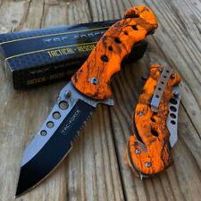 Orange Camouflage Spring Assisted Outdoor Camping Handy Pocket Knife TAC-FORCE