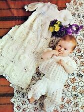CROCHET PATTERN Christening gown dress shawl sun suit angel top lacy roses 806