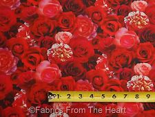 Digital Red Garden Roses Flowers Floral BY YARDS Elizabeths Studio Cotton Fabric
