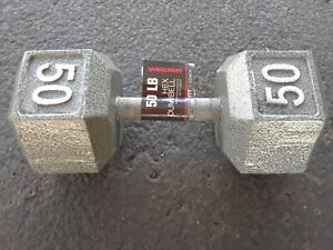 Weider 50 lb Cast Iron Steel Hex Dumbbell Barbell Free Weights Home Gym Fitness!