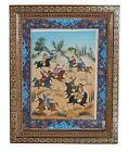 Persian Miniature Hand Painting On Bone Khatam Inlaid Mosaic Marquetry Frame