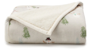 New Cuddl Duds Snowman Snow Plush Sherpa Throw Blanket Reversible Soft Cozy Warm