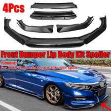 Glossy Black Front Bumper Lip Body Kit For 2018-19 Honda Accord 10th Gen Sport