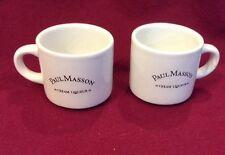 PAUL MASSON CREAM LIQUEUR WHITE SHOT GLASSES  MUGS SET OF 2