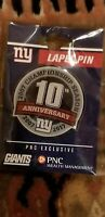 New York Giants 2007 Super Bowl Champs SGA 10th Anniversary Lapel Pin 9/18/17