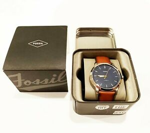 Fossil Men's 44M Brown Minimalist Leather Stainless Steel Casual Watch FS5304
