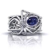 Men Women Spider 925 Silver 1.68 Ct Sapphire Wedding Engagement Ring Size 6-10