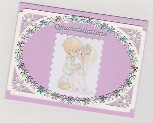 Blank Handmade Greeting Card ~ CONGRATULATIONS with CUTE LITTLE BRIDE AND GROOM