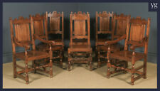 English Set 8 17th Century Style Wainscot Kitchen Dining Chairs, by Taylor & Co