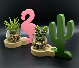 Cactus Or Flamingo Shaped One Glass pot Home Decor Display BUY 2 or more 25% Off