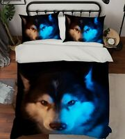 3D Husky Head ZHUA119 Bed Pillowcases Quilt Duvet Cover Set Queen King Zoe