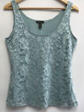 caebb23b375fc8 Cupio Womens Size Large Tank Top Blue Lace Lined Nylon Blend Stretchy