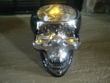 HALLOWEEN SMOKE MIRROR SKULL HEAD CRACKLED GLASS VOTIVE W/ CANDLE TEA LIGHT HTF!