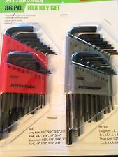 36 Pc SAE & Metric Long Reach Hex Key Set Brand New