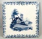 """Antique Mintons 6"""" Tile Scenic Romantic Landscape Chalet Church Stoke on Trent"""