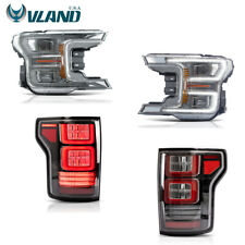 VLAND LED Headlights+ LED Tail Lights For Ford F150 F-150 2018-2019 Assembly
