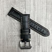 Per Panerai Pam 24mm Artigianale Nero Coccodrillo Pelle Cinturino Orologio Pre-v