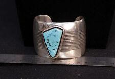 """Wide Navajo Bracelet by Delbert Vandever Sterling 1 3/4"""" x 1 1/2"""""""