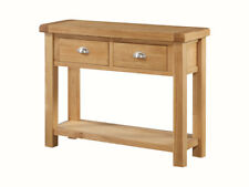 Newport Solid Oak Large Console Table - Oak Hall Table with 2 Drawers and Unders
