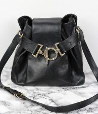 TEXIER Vintage Black Leather Tote Brass Clasp Satchel Shoulder Bag