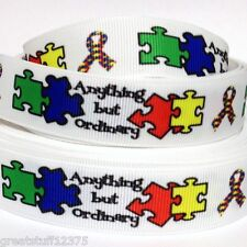"""Grosgrain Ribbon 7/8"""" AUTISM AWARENESS Anything But Ordinary B1 for Hair bows"""
