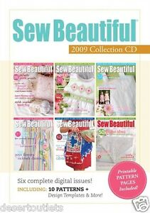 Sew Beautiful Magazine 2009 Collection - 6 Issues - PC & MAC Compatible - CD