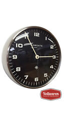 NEWGATE Wanduhr CHRYSLER BURNISHED STEEL BLACK 50th BRITISH DESIGN Uhr