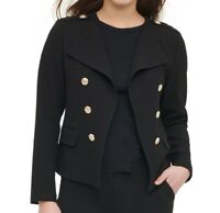 Calvin Klein Women's Jacket Black Size XL Textured Faux Button Front $119 #157