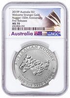 2019 P Australia 1 oz Silver Welcome Stranger Nugget $1 NGC MS70 FR SKU58086
