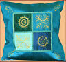 TURQUOISE SILK GOLD BLOCK PRINTING PILLOW COVER/CUSHION COVER FROM INDIA!!