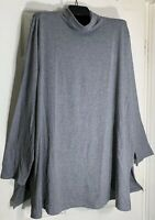 J Jill women Plus Size 1x Pima cotton turtle neck A-line tunic Gray New