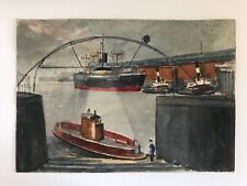 Original small watercolour sketch of boats and ship named Elysia? dated 1946