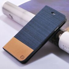 Flip Wallet Folio Case Holder Denim Canvas+Silicone Stand Cover For Samsung LG