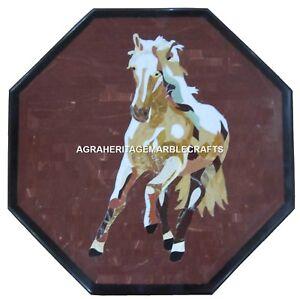 Marble Coffee Center Table Top Pietra Dura Running Horse Inlay Art Decor H509
