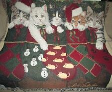 New Christmas Kittens Woven Afghan Tapestry Throw Gift Blanket Nip Holiday Cat