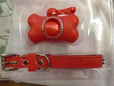 NEW RED SET OF DIAMANTE DOG COLLAR AND 20 BAG DISPENSER GIFT SET SIZE M