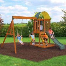 Swing Set Children Play Sets Wooden Structure Outdoor Toys Swings Slide Sandbox