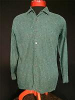 RARE VINTAGE 1950'S FRENCH GREEN WOVEN COTTON SQUARE COLLAR SHIRT SIZE MEDIUM