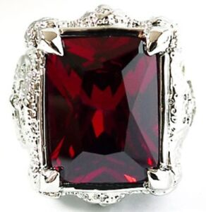 BIG RED RUBY DRAGON CLAW AXE SILVER PLATED RING Sz 7.5