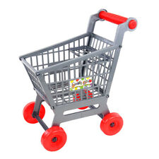 Kids DIY Assembled Gray Shopping Hand Push Trolley Cart Shop Role Play Toy