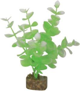 GloFish Plant Aquarium Decor Green & White Small 5.5 inch Aqua weighted decor