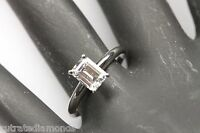 Emerald Cut Solitaire Engagement Wedding Ring 1 Carat 14k Real WHITE Gold