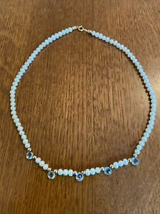 "Gorgeous 14"" 14k 585 gold pearl aquamarine necklace"