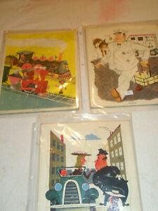 Vintage 3 PLAYSKOOL Golden Press Puzzles Train Milkman Policeman Pressed Paper