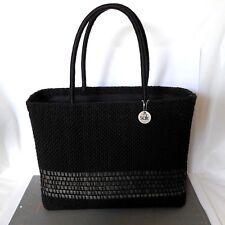 The Sak Basket Handbag Tight Weave Nylon and Rattan Black Structured Large