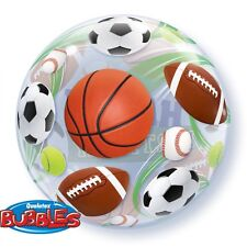 """5 PACK Qualatex 22"""" Stretchy ROUND Bubble SPORTS Balloon BIRTHDAY PARTY!"""