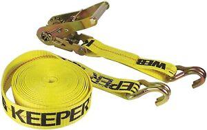 """Keeper 04622 2"""" x 27' Ratchet Tie-Down Double J Hooks"""
