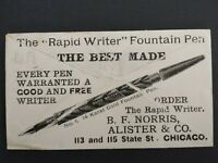 Illinois: Chicago 1897 Norris Fountain Pen Allover Illustrated Advertising Cover