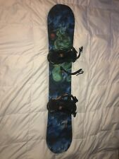 Boy's or Girl's blue and green Never Summer Evo Mini snowboard with bindings