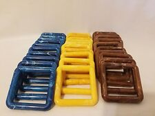 """Lot of 30 Square 3"""" Three Inch Assorted Plastic Marbella Macrame Craft Rings"""